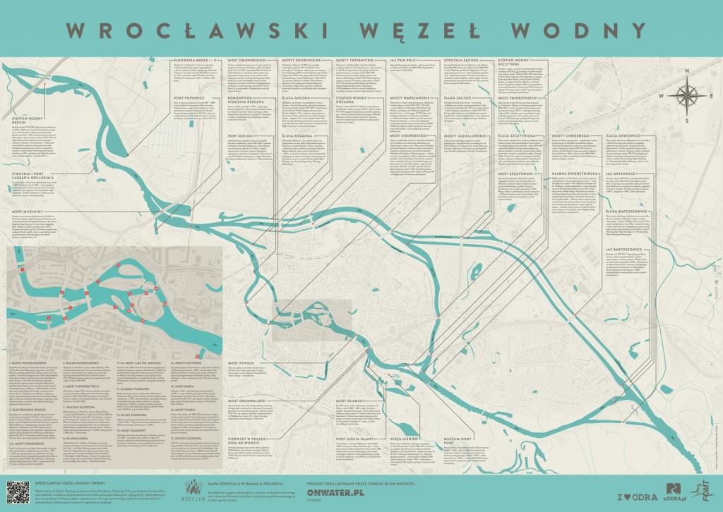 Mapa Wrocławskiego Węzła Wodnego - opracowanie Fundacja onwater.pl