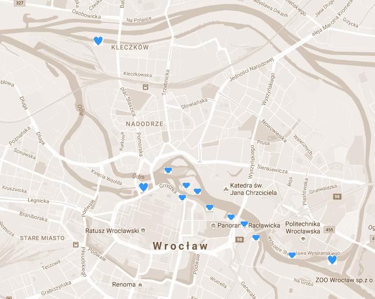 Szlak turystyczny Wrocławskiego Węzła Wodnego - mapa 1 etapu. Fundacja OnWater.pl