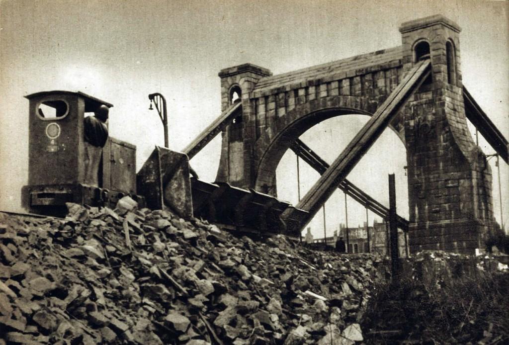 Reconstruction of the bridge after war devastations.