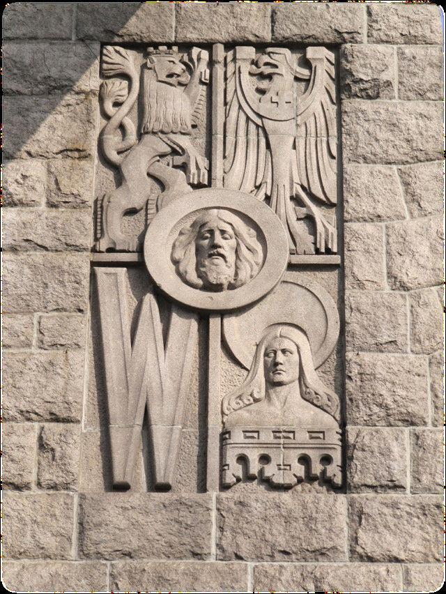 Crest of Wrocław on Grunwaldzki Bridge