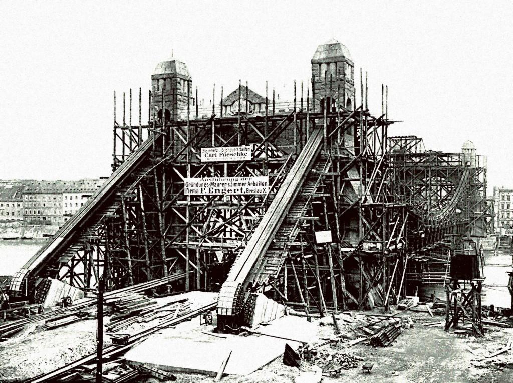 Budowa Mostu Grunwaldzkiego 1908-1910 r.