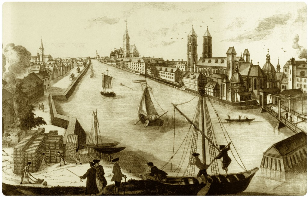 Timber yard at the boulevard around 1760.