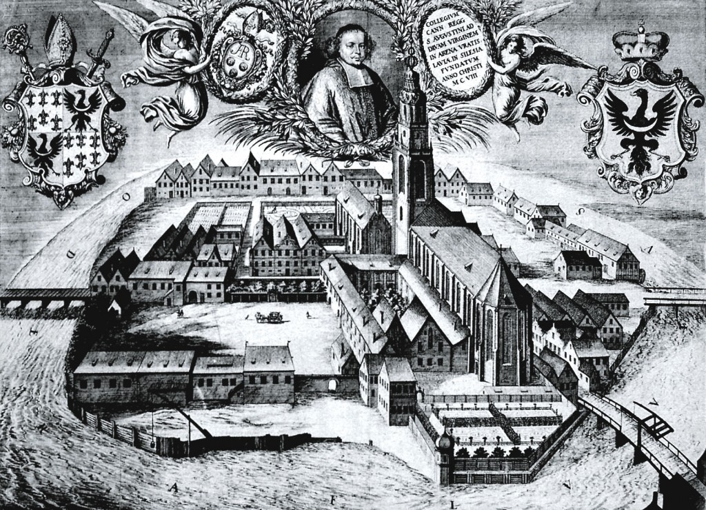 Blessed Virgin Mary Abbey on Piasek Island, a bird's eye view from the east, copperplate engraving, 1668.