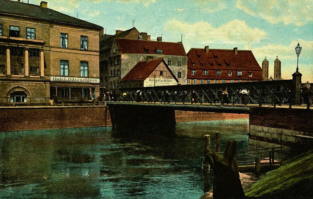 Most Piaskowy i nieistniejąca gęsta zabudowa Wyspy Piaskowej