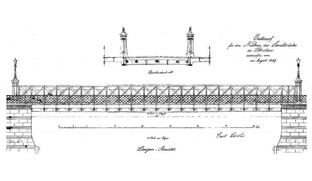 Projekt Mostu Piaskowego 1859 r.