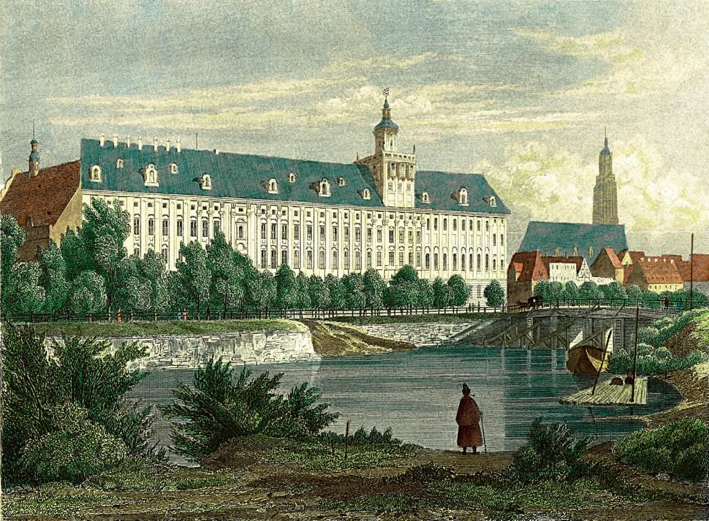 Widok z Wyspy Słodowej na budynek Uniwersytetu Wrocławskiego